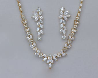 Gold Bridal Jewelry Set, Crystal Wedding Necklace and Earrings, Denise/Maxime