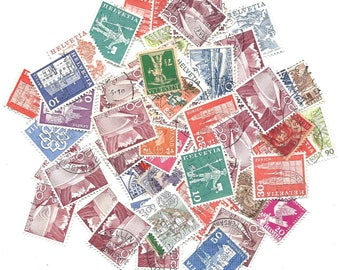 15 Switzerland Vintage STAMP collection - Cute used assorted HELVETIA STAMPS set