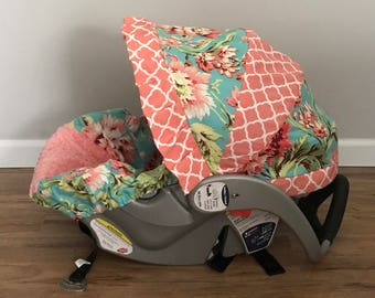 Amy Butler Love Bliss Teal fabric & coral MINKY Infant Car Seat Cover moracan quarterfoil