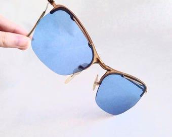 1940s 50s Blue Perspex lens sunglasses / 1950s 40s gold frame eyeglasses