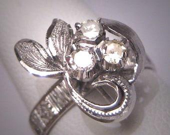 Antique Diamond Wedding Ring Floral Band Vintage Art Deco 1950