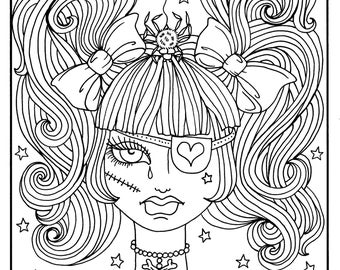 misfit girls 5 pages halloween misfits creepy cute coloring pages digital coloring digi