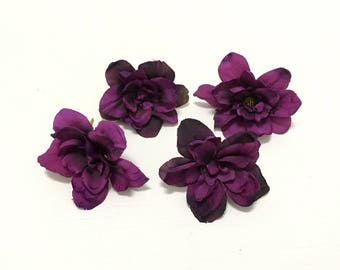 Silk Flowers - Four Delphinium Blossoms in Deep Eggplant Purple - 3 Inch Size - Artificial Flowers