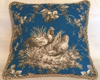 Country French Cottage Rooster Pillow Provence Blue Ivory Toile Hens Americana