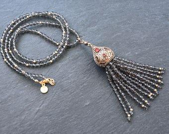 Ethnic Turkish Tassel Necklace Smokey Quartz Facet Cut Stone Gemstone Statement Gypsy Hippie Bohemian Artisan OOAK