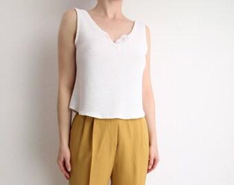VINTAGE Camisole White Lace 1990s Medium