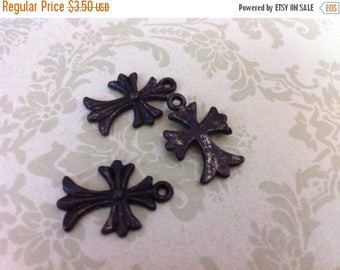 SALE Vintage Style Aged rustic dark brown patina Rosary style repurpose cross charms 3 pcs.