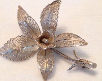 Filigree Orchid Brooch // Silver Tone // Vintage