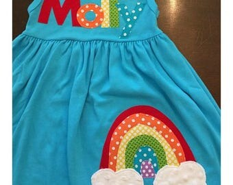 Rainbow Dress, New Turquoise Color, Toddler Youth Girls Personalized Rainbow Dress - Rainbow Birthday Dress - You Choose Dress Color