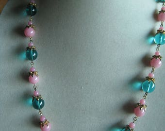 vintage huge gtipoix poured blue glass Mariam Haskell necklace