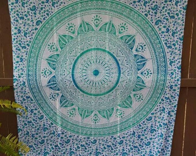 Turquoise Compass Mandala Tapestry Boho Hippie Tapestry Wall Hanging Beach Blanket Yoga Meditation Mat Dorm Decor Music Festival Tapestry