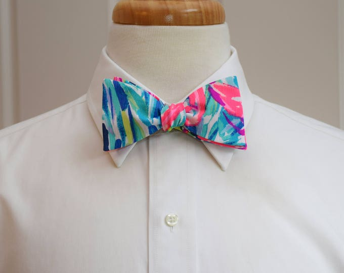 Men's Bow Tie, Flamenco Beach hot pink/blues 2017 Lilly print, groomsmen/groom bow tie, wedding bow tie, prom bow tie, Carolina Cup tie