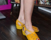 1940s 1950s Yellow Style Leather low Wedge Comfortable Shoes Sandals sz 4 5 6  7 UK