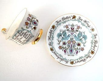 Anniversary teacup and saucer set Paragon England vintage tea set English bone china collectible marriage anniversary gift symbols meaning