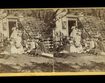 Rare 1860s Civil War Era Stereoview Photo - Southern Family with Slave / Servant