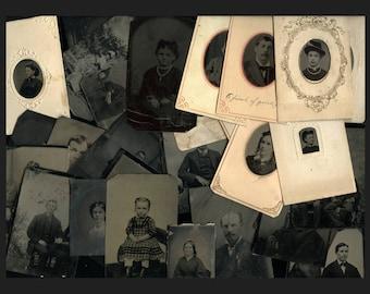 Big Lot of 100 Antique Tintype Photos <><> 1860s - 1890s