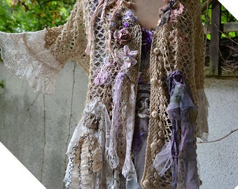 Romantic Charming Unique Art To Wear  Crochet Sandy Jacket With White Laces ANTOINETTE Gipsy Fairy Tattered Boho