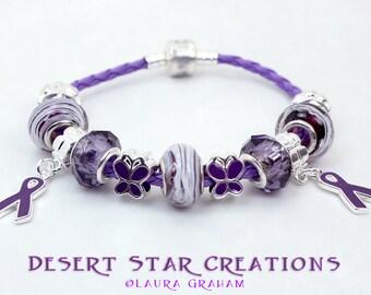 Purple Rope Lupus Epilepsy Bracelet, Euro Style Charm Bracelet, Purple Ribbon Awareness Bracelet, Large Hole Beads