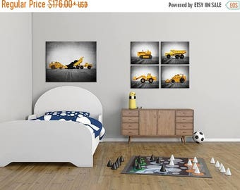WEEKEND SALE Vintage Construction Vehicles Set of  Four  Canvases Ready to Hang, Diggers, Wall Art,  Kids Room, Nursery Ideas