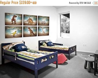 FLASH SALE til MIDNIGHT Set of 6 Dinosaur Canvases mounted on Wood Stretcher frame, Boys Room Decor, Dinosaur Art, Dinosaur photos, Boys Roo