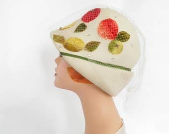Vintage 1960s hat, ivory cloche hat, fruit accent, Donna Sue