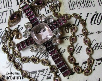 Madonna Enchanted cross statement necklace large open back crystal purple crucifix antique Victorian Catholic gothic goth jewelry religious