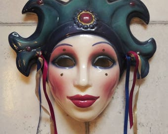 Clay Art Ceramic Face Wall Mask, Art Deco Face, Fancy Jester Wall Hanging,