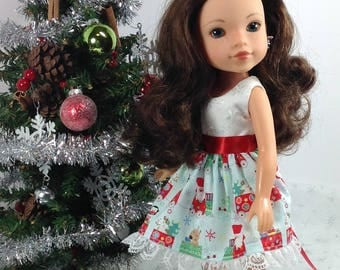 14 inch doll clothes fits Heart for Heart or Wellie Wisher-Christmas Dress