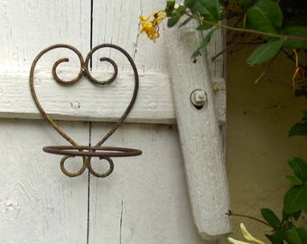 Vintage French Wrought Iron Heart Balcony Plant Pot Holders Hanging Basket wall