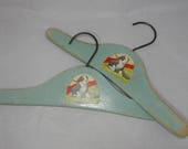 Pair Vintage 1930s Blue Wood Childs Hangers  w/ Dogs