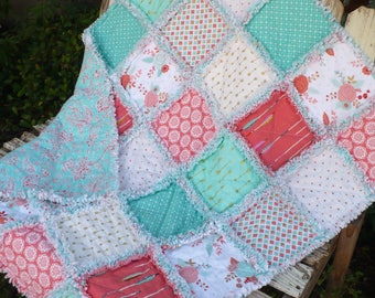 Baby Girl Rag Quilt Girl Crib Quilt Modern Bohemian Tribal Glitz Boho Indian Arrows Mint Peach Coral Turquoise Gold Ready to Ship