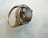 Vintage Nine Carat 9ct 9K Smoky Quartz Ring