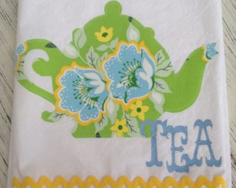 Tea Towel, Flour Sack, Appliqued Green and Blue Teapot with Amy Butler Fabric