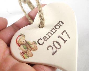 Custom Baby Ornament, Stamped Heart Ornament, Custom Valentine Ornament, Baby Gift, Baby Valentine Gift, Valentine Decor, Present Tag
