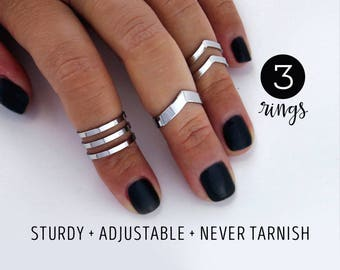 Knuckle ring set gift for her / mirror finish / Double chevron midi ring set  / arrow rings / silver knuckle ring / chevron knuckle ring