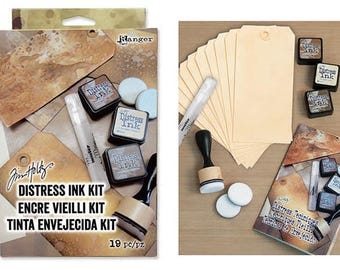 Ranger Tim Holtz Distress Kit - Distress Inks, Surfaces and Tools to learn Distress ink techniques
