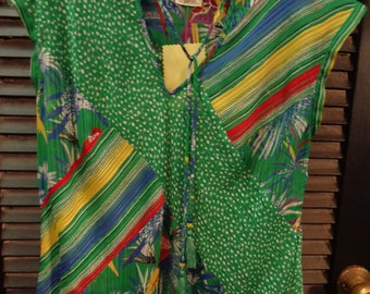 VINTAGE 1980's Diane Freis Stunning Multicolor/Multiprint.Summer Blouse - Free Shipping (available)