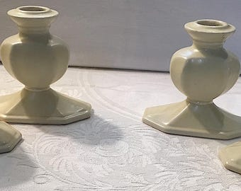 Set of Four Vintage Off White Ceramic Taper Candle Holders