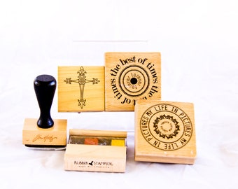 Lot of Stamps Including Rubber Stampede Multi color ink well, Jim Holtz Blotter