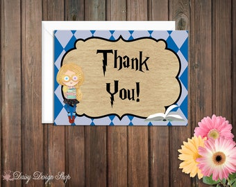 Thank You Cards - Harry Potter Ravenclaw House Colors - Set of 10 with Envelopes
