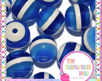 16mm BLUE & WHITE STRIPED Bubblegum Bead, Chunky Bead, Gumball Bead, Acrylic Bead, Round Bead, Diy Jewelry Supply, The Bubblegum Bead Co.