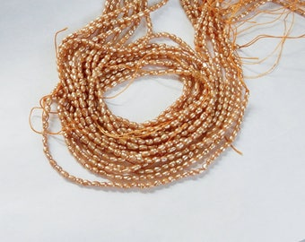 2-3mm Champagne color  rice  freshwater pearls, FULL STRAND (15 inches), small rice pearl