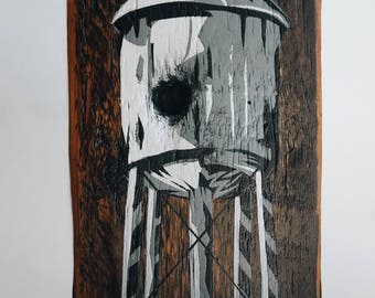 Water Tower - reclaimed wood and painted
