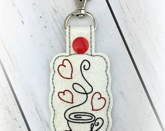 Coffee Heart Snap Tab Key Fob Embroidery Design