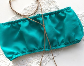 Turquoise crop cropped boob tube top