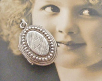 French antique silver oval fob locket