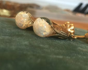 Vintage 12k Floating Opal Earrings