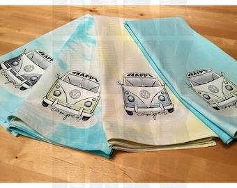 VW Tie Dye Volkswagen Bus Dish Towels/Tea Towels