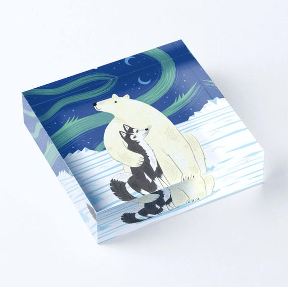 "The Polar Bear and The Husky - Acrylic 'Ice' Block - Children's Decor - Kids room - Nursery Decor - 6"" x 6"" -  iOTA iLLUSTRATION"