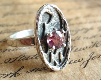 Pink Tourmaline Ring Sterling Silver Textured Size 7 Hand Made Artisan Made